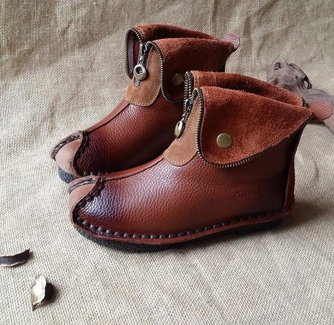 Handgemachte Frauen braun Lederstiefel, Oxford Retro Frauenschuhe, flache Schuhe, Herbst Stiefel, persönlichen Stil Stiefel, Stiefeletten, Booties
