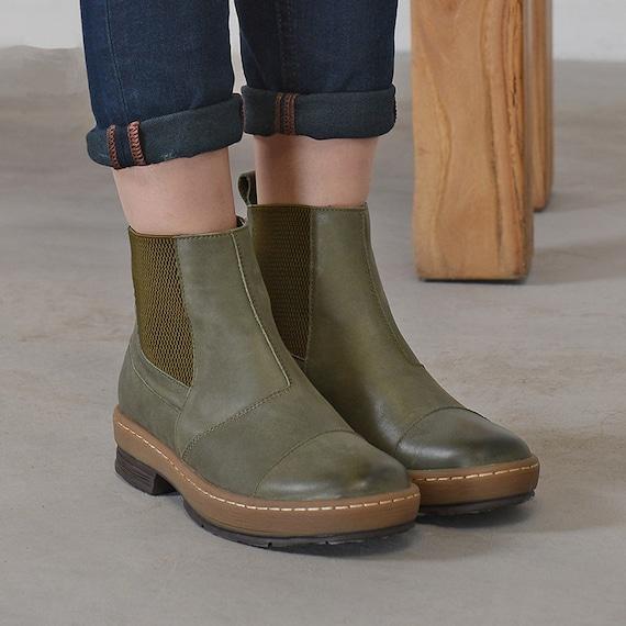 botas zapatos estilo artesanal zapatos zapatos Botines botines cuero negro verde mujeres para botines cuero de con negros de Oxford botas de RqTPqX