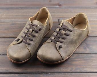 Handmade Men's Shoes,Oxford men Shoes, Flat Shoes, Retro Leather Shoes, Casual Shoes