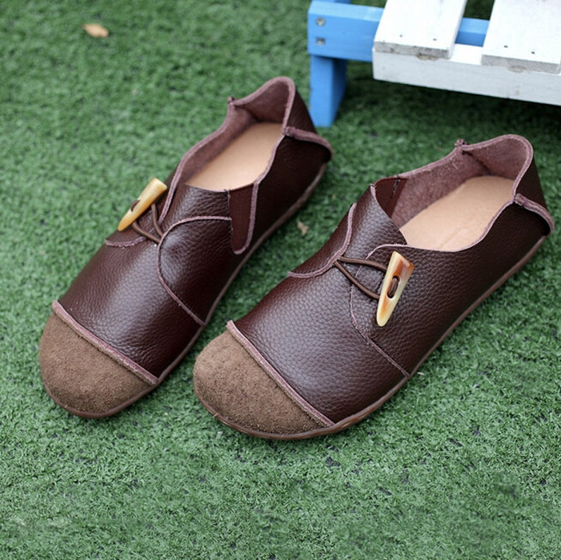 1ec9931304fae Large Size Dark Brown Handmade Shoes,Oxford Women Shoes, Flat Shoes, Retro  Leather Shoes, Casual Shoes