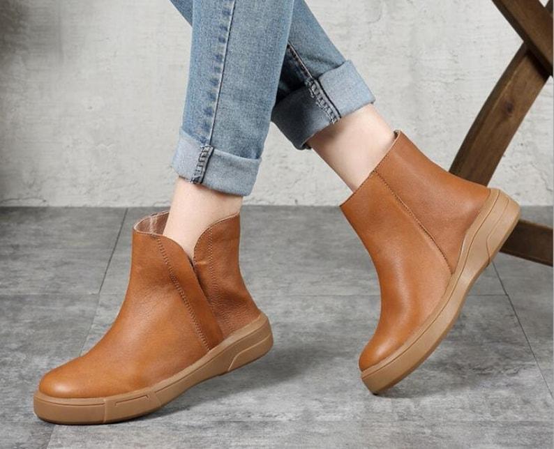 0b27ed2ad56631 Oxford-Stiefeletten flache Schuhe Retro Lederschuhe