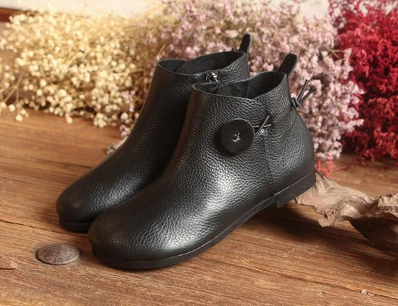 3f1f9457b78 Handmade Black Women Booties,Oxford Ankle Boots, Flat Shoes, Soft Leather  Shoes, Casual Shoes, Slip Ons, Loafers