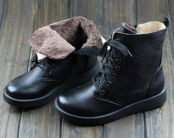 SALE! Winter Women Shoes, Flat Short Boots,Genius Leather Shoes, Women Black Leather Shoes, Leather Booties, Winter Shoes, Casual Shoes