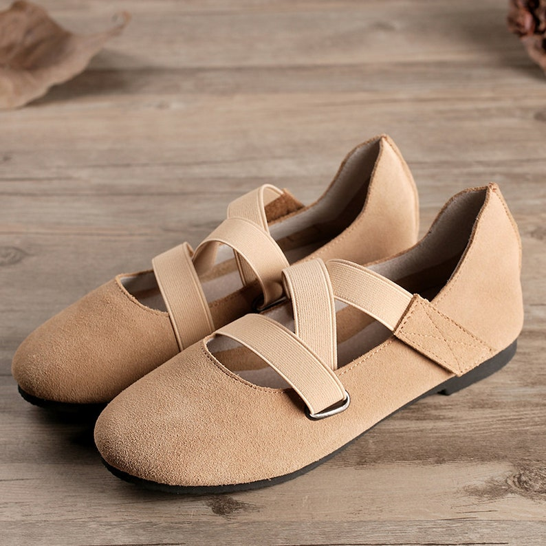 6ee261c83a21c Tan Handmade Ballet Shoes,Oxford Women Shoes, Flat Leather Shoes, Retro  Soft Leather Shoes, Casual Shoes