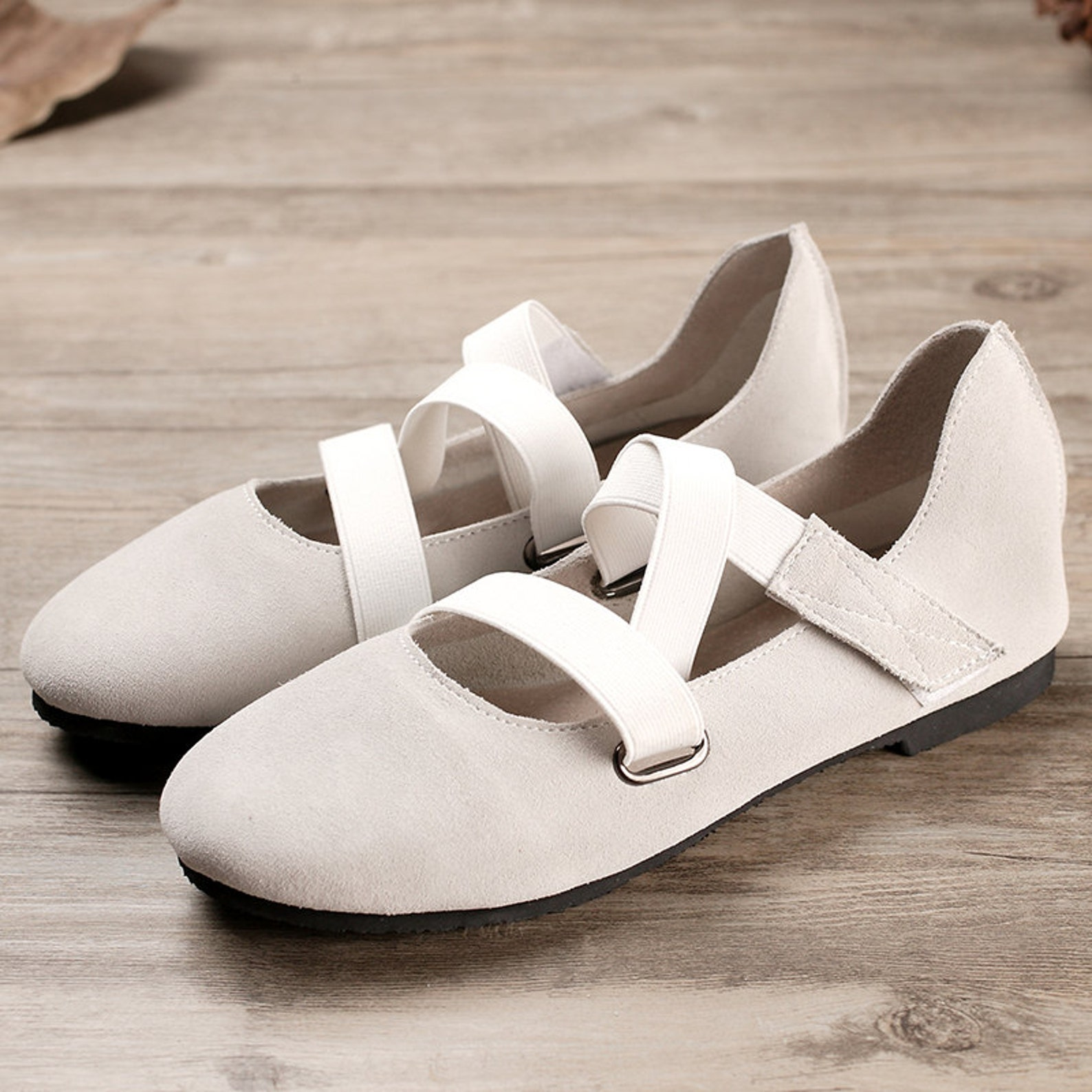 grey handmade ballet shoes,oxford women shoes, flat leather shoes, retro soft leather shoes, casual shoes