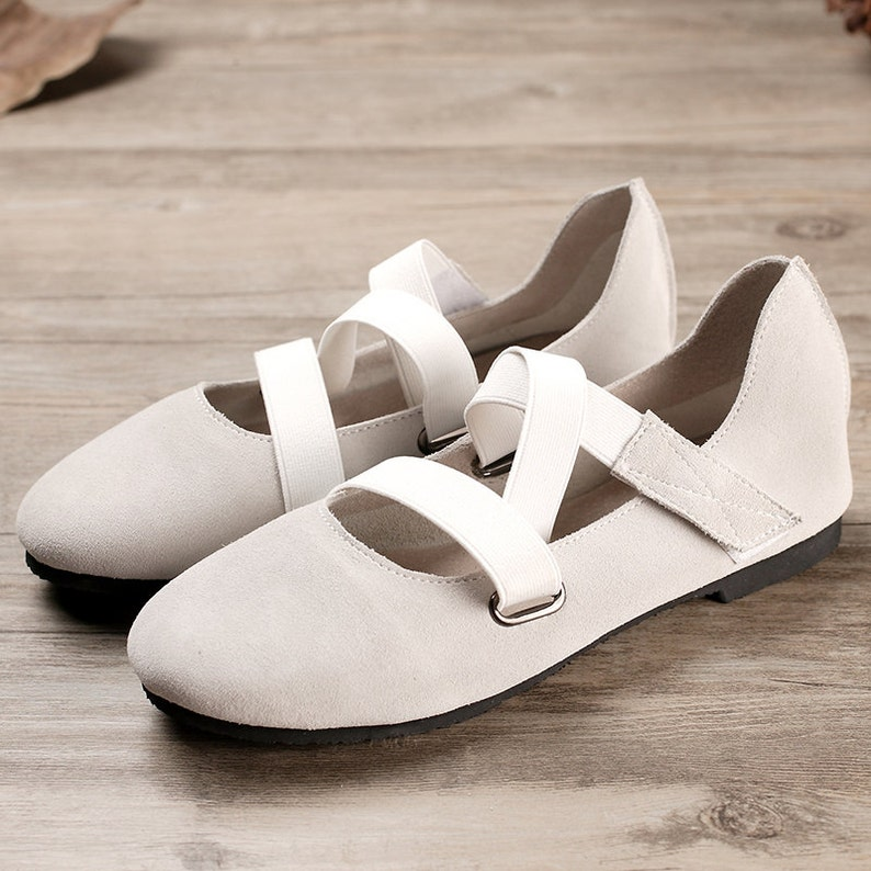 7e9bb4d960e43 Grey Handmade Ballet Shoes,Oxford Women Shoes, Flat Leather Shoes, Retro  Soft Leather Shoes, Casual Shoes