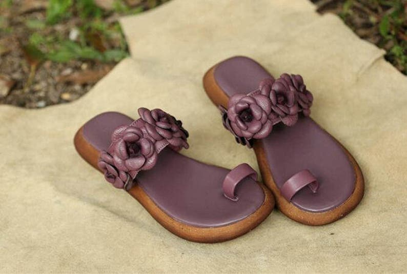 120a0c9d4f28a Handmade Purple Sandals with Flowers, Women's Leather Sandals, Slippers,  Flat beach shoes, Beach Sandals,Summer Shoes Sandals for Women