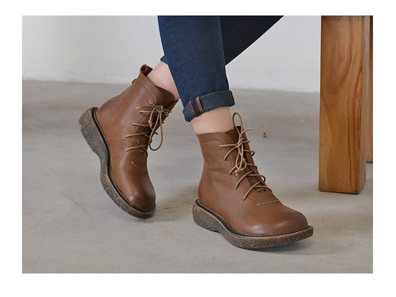 b09c644dd7bd NewHandmade Brown Women Leather ShoesAnkle BootsFashion