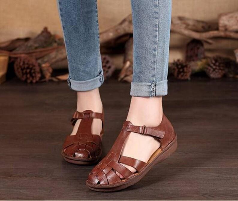 6a3da63af Mujer marrón hecho a mano de cuero sandalias zapatos de piso