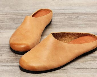 Handmade Flat Shoes for Women, Leather Slippers, Slip-ons,Soft Shoes, Retro Oxford Shoes, Vintage style Leather Shoes