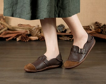 Large Size Handmade Women Shoes,Oxford Shoes, Flat Shoes, Retro Leather Shoes, Slip-ons, Ballet Shoes, Very Soft