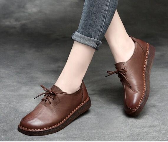 Chaussures femme à la main, Oxford femme Chaussures chaussures, chaussures plates, chaussures rétro en cuir, chaussures occasionnelles, chaussures, chaussures de l'automne, de printemps frais de port b56f03