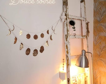 Copper or silver garland - lunar phase or clouds - house jewel - wall decoration -