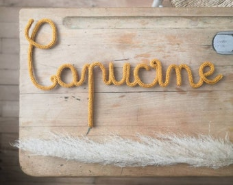 First name, word or initial to customize in wool - wall decoration - door plate