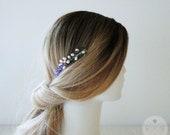 Lavender hair comb, pearls head piece, boho wedding, minimalist hair pin, bridesmaid, hair comb, boho hair accessories