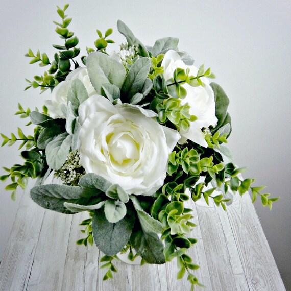 Bridesmaid Bouquet White Rose Eucalyptus Wedding Bouquet Etsy