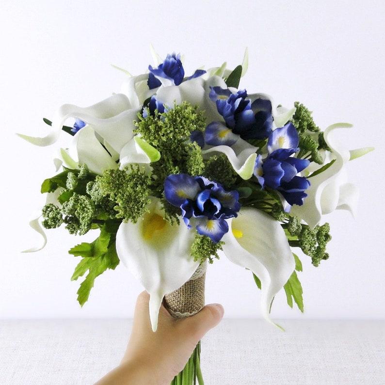 calla lily iris bouquets White and indigo wedding bouquet bridal bouquets bridesmaid bouquet green ivory bouquets silk flower bouquets