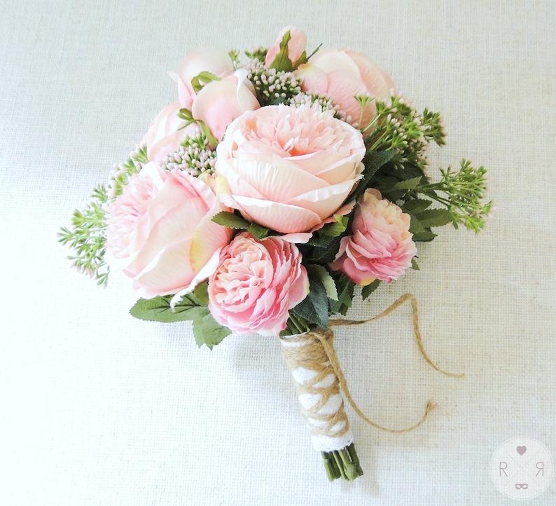 READY-TO-SHIP wedding bouquet pink roses blush silk flowers boho garden wedding boho bouquet artificial bouquet bridal bouquet