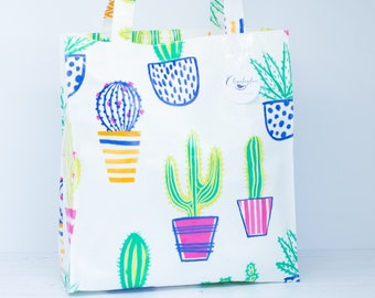 Large Cactus Oilcloth Tote Bag
