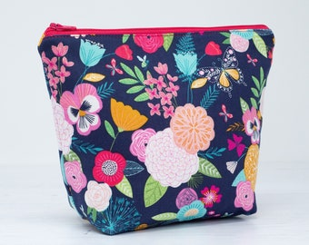 Bright Floral Makeup Bag - Floral Fabric Zipper Pouch - Colourful Gifts