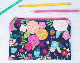 Floral Zipper Pouch - Travel Wallet