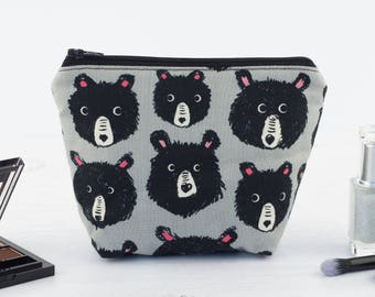 Grey Bear Faces Mini Makeup Bag