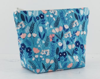 Blue Floral makeup bag, Makeup bag, Cosmetic bag, Toiletry bag, Project bag, Women's toiletry bag