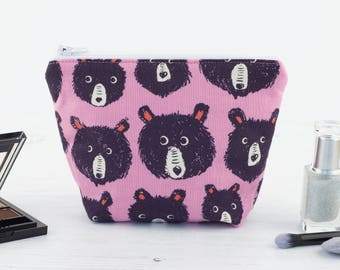 Pink Bears Mini Makeup Bag