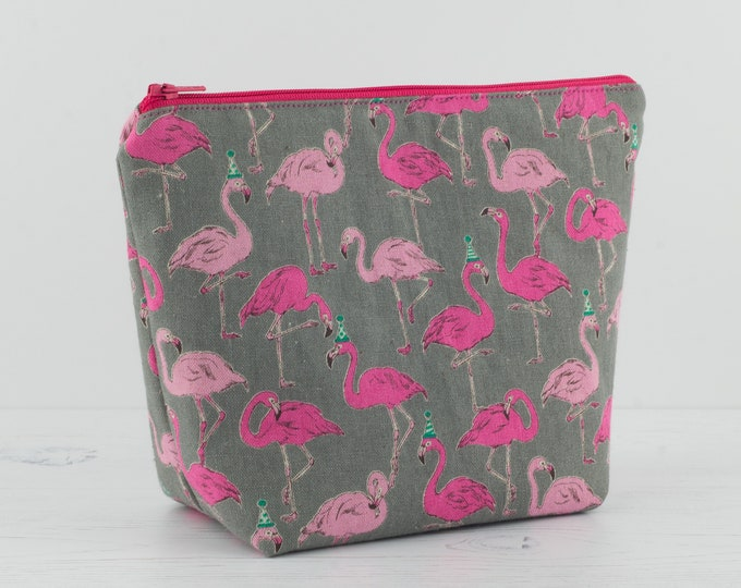 Featured listing image: Flamingo Makeup Bag, Makeup bag, Cosmetic Bag, Toiletry Bag, Project Bag, Women's Toiletry Bag