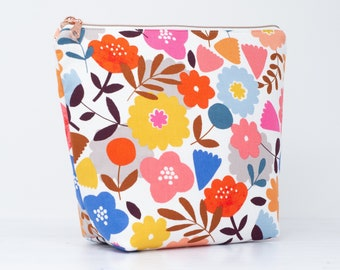 Large Floral Wash Bag with Chunky Rose Gold Zip