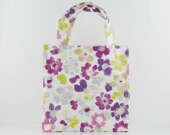 Oilcloth Tote Bag - Purple Floral