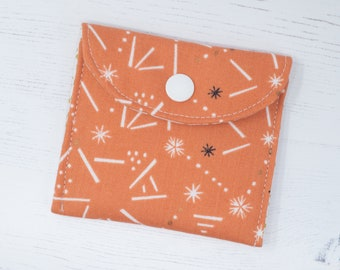 Metallic Coin Pouch - Small Orange Sprinkle Coin Pouch - Coin Purse