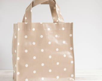 Oilcloth Tote Bag - Beige Polka Dot