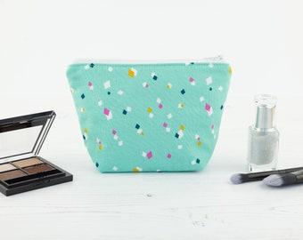 Teal Diamonds Mini Makeup Bag