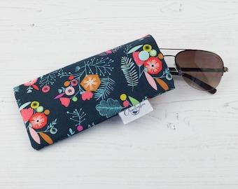 Glasses Case - Navy Flowers