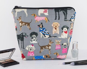 Wash Bag - Dogs in Grey