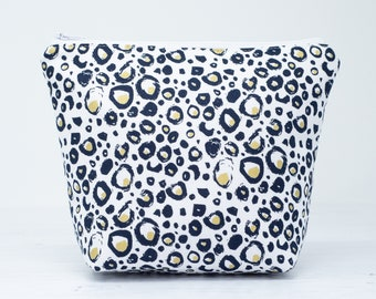 Metallic Gold Leopard Print Medium Makeup Bag