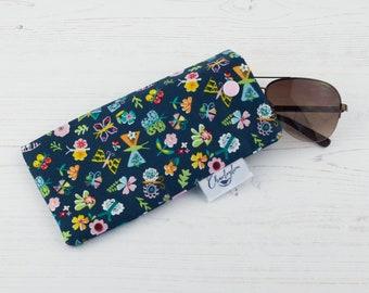 Navy Blue Butterfly Glasses Case