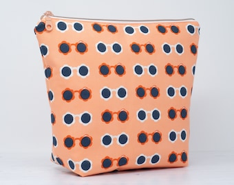 Bright Sunglasses Wash Bag with Chunky Rose Gold Zip