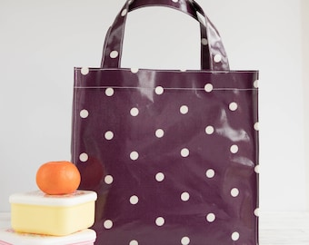 Oilcloth Tote Bag - Berry Polka Dot