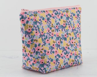 Rifle Paper Co Makeup Bag, Floral Gold Makeup Bag, Cosmetic Bag, Toiletry Bag, Project Bag, Women's Toiletry Bag, Rifle Paper Co Fabric