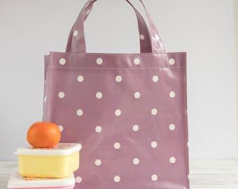 Oilcloth Tote Bag - Lilac Polka Dot