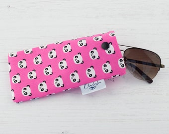 Pink Panda Glasses Case