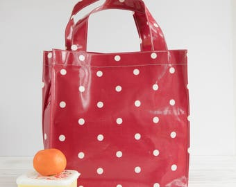 Oilcloth Tote bag - Red Polka Dot