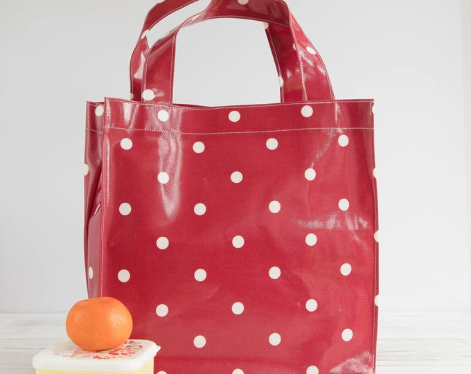 Featured listing image: Oilcloth Tote bag - Red Polka Dot