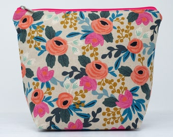 Rifle Paper Co Canvas Wash Bag with Chunky Pink Zip