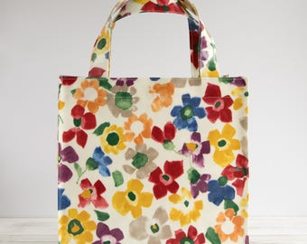 Oilcloth Tote Bag - Bright Floral