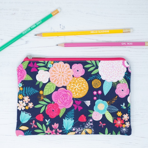 Navy Floral Change Purse Navy Floral Zippered Pouch Zippered Bag