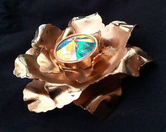 RARE Anne FONTAINE Grosse Broche Golden Flower crystal borealis - Magnificent Retro Chic Haute Couture Old Coll. - signed and Made in Italy