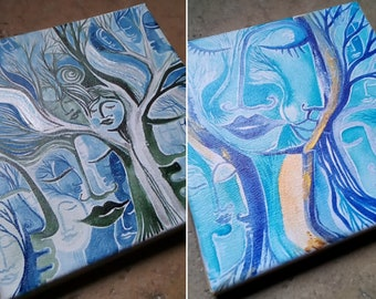 Blue Hour Gold & Hour Blue Night Silver, Painting 20x20cm Acrylic Watercolor Ink Artist LydieLYK, Gaia Tree Sky Blue Star Silver Gold